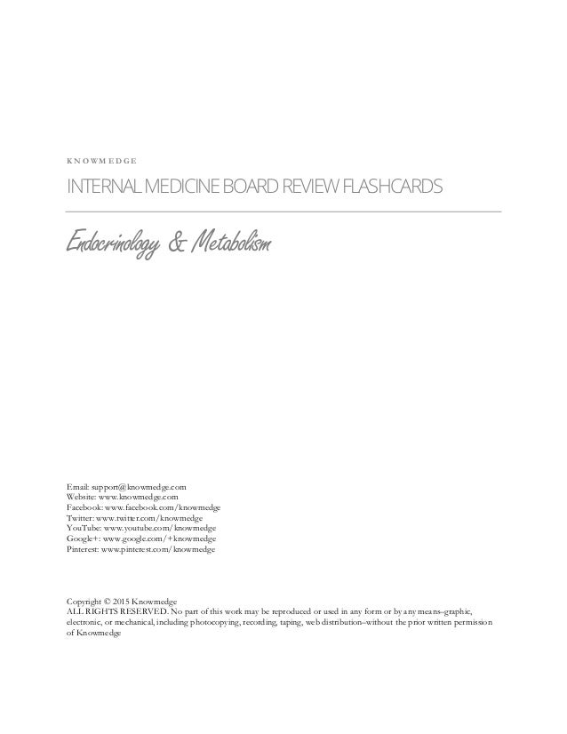 Internal Medicine Board Review - Endocrinology Flashcards