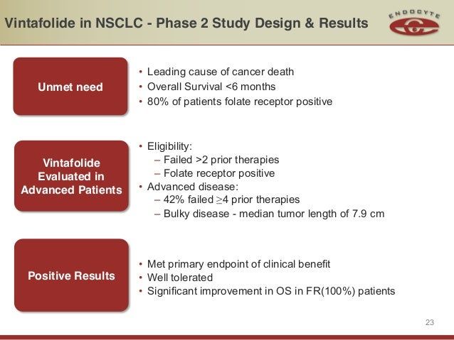 Vintafolide in NSCLC - Phase 2 Study Design & Results                      • Leading cause of cancer death    Unmet need  ...