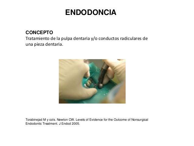 ENDODONCIA CONCEPTO Tratamiento de la pulpa dentaria y/o conductos radiculares de una pieza dentaria.  Torabinejad M y col...