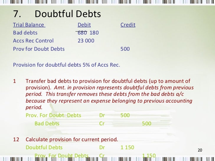 debt and trial balance Accounts receivable is a legally enforceable claim for payment held by a  business for goods  these may be distinguished from notes receivable, which  are debts created through formal legal instruments called promissory notes   the ending balance on the trial balance sheet for accounts receivable is usually  a debit.