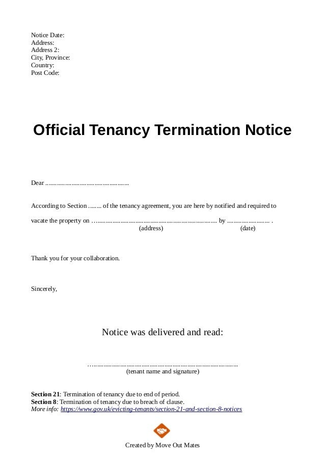 ... Template From Landlord To Tenant. Notice Date: Address: Address 2:  City, Province: Country: Post Code  Notice To Tenants Template