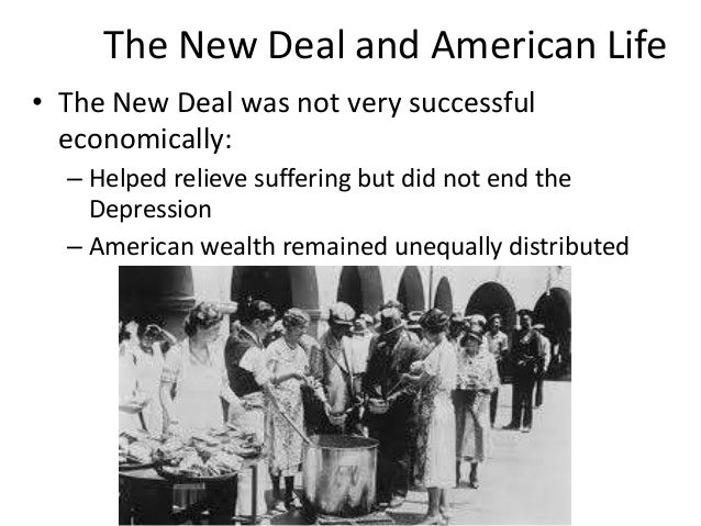 why the new deal failed to One of the major negatives of the new deal was that it upset the balanced federal budget and created a huge deficit for the nation while at the same time failed to end massive unemployment.