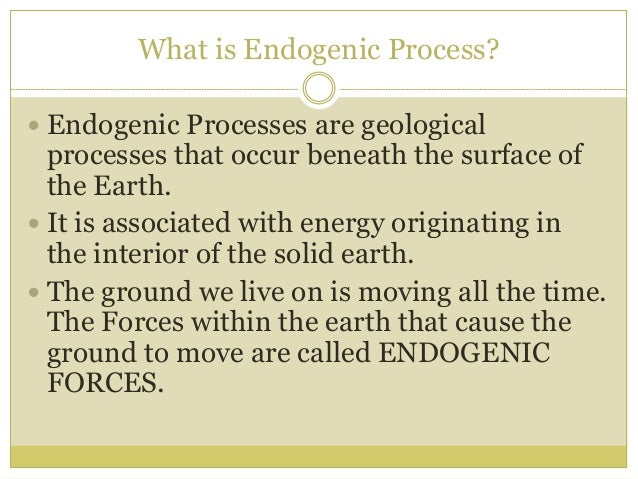 endogenetic process Tectonic, earthquake and volcanic processes  within the earth's crust and are this designated as endogenetic volcanism and diastrophism belong in this class.