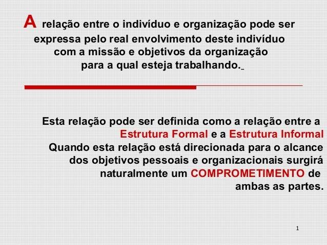 A relação entre o indivíduo e organização pode ser expressa pelo real envolvimento deste indivíduo    com a missão e objet...