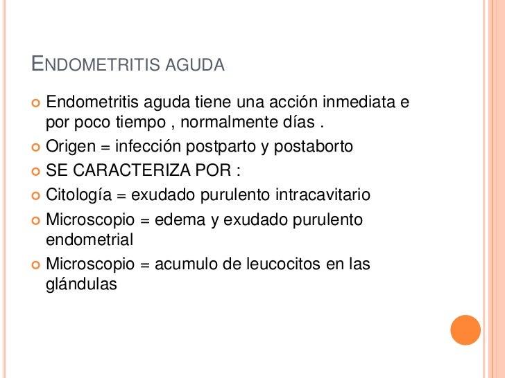 ENDOMETRITIS AGUDA Endometritis aguda tiene una acción inmediata e  por poco tiempo , normalmente días . Origen = infecc...