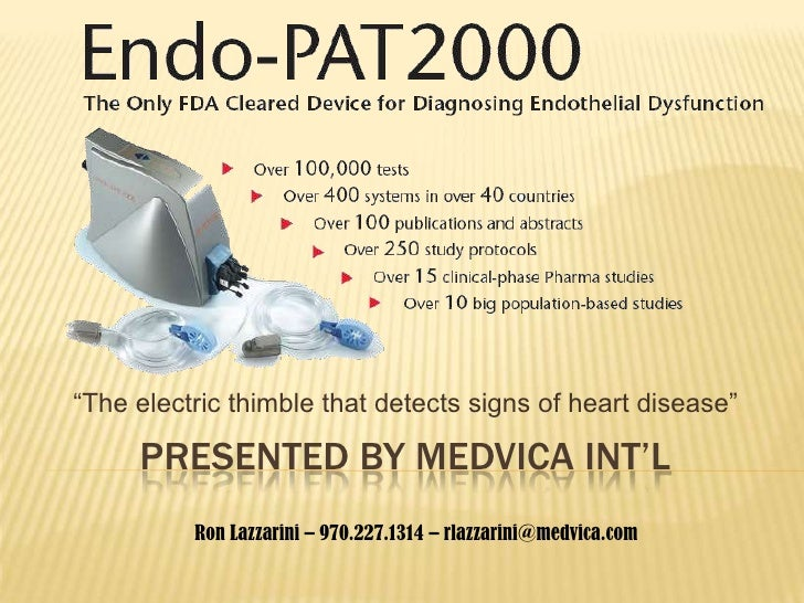 "PRESENTED BY MEDVICA INT'L<br />""The electric thimble that detects signs of heart disease""<br />Ron Lazzarini – 970.227.13..."