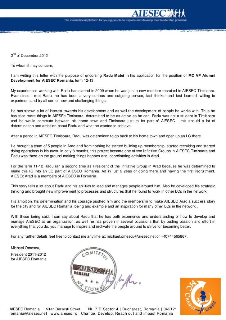nd2 of December 2012To whom it may concern,I am writing this letter with the purpose of endorsing Radu Matei in his applic...