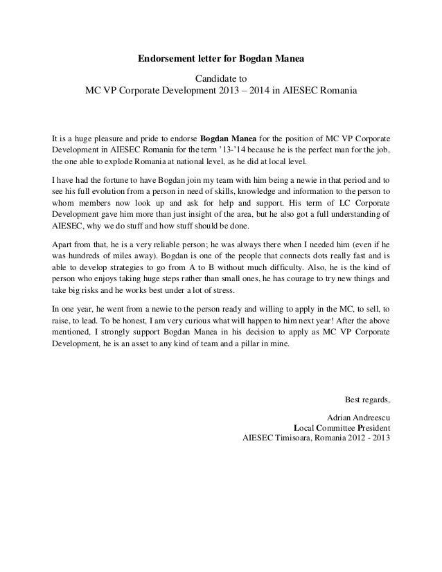 Endorsement Letter For Bogdan Manea Adi Andreescu