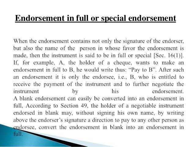 endorsement of cheque