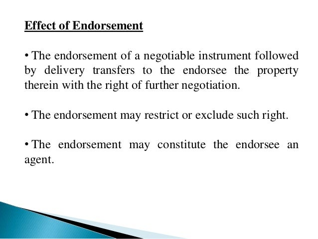 what is endorsement of cheque
