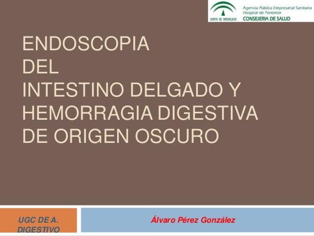 ENDOSCOPIA DEL INTESTINO DELGADO Y HEMORRAGIA DIGESTIVA DE ORIGEN OSCURO Álvaro Pérez GonzálezUGC DE A. DIGESTIVO