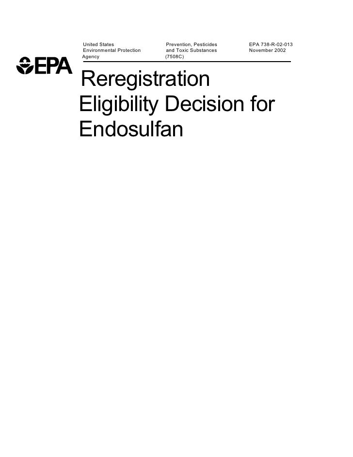 Endosulfan safe to use  usepa