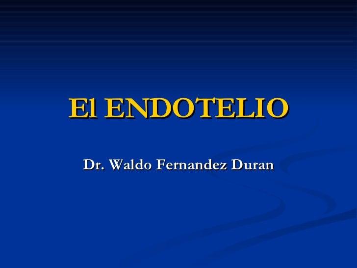 El ENDOTELIO Dr. Waldo Fernandez Duran