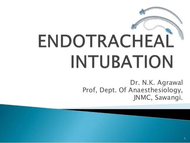 Dr. N.K. Agrawal Prof, Dept. Of Anaesthesiology, JNMC, Sawangi. 1