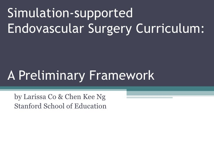Simulation-supported Endovascular Surgery Curriculum:  A Preliminary Framework by Larissa Co & Chen Kee Ng Stanford School...