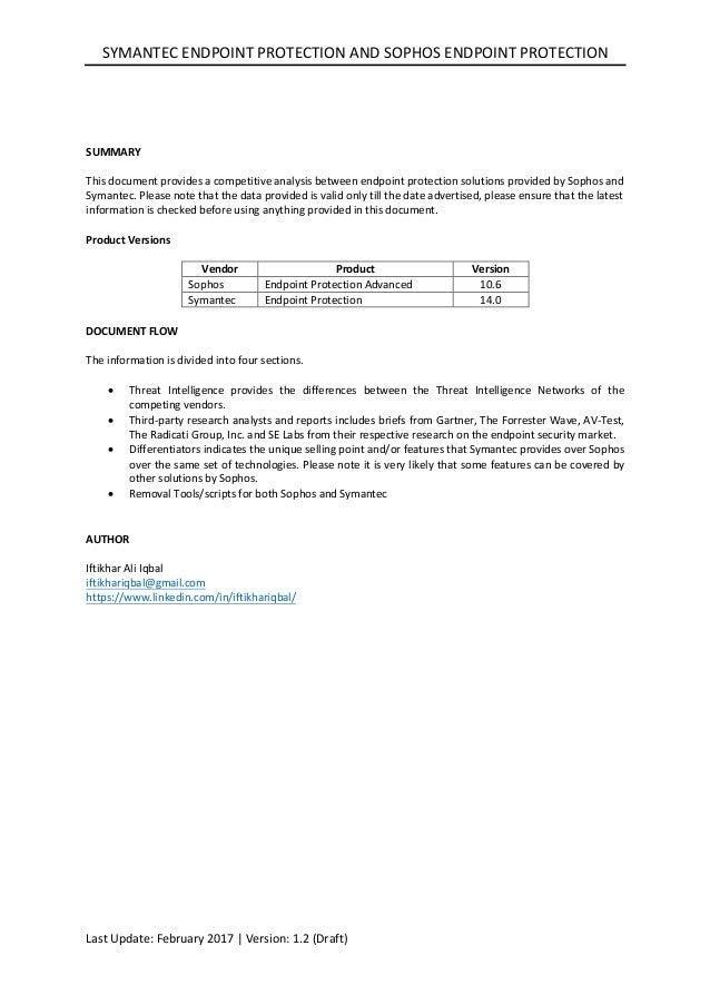 Symantec Endpoint Protection vs Sophos Endpoint Protection (Competiti…