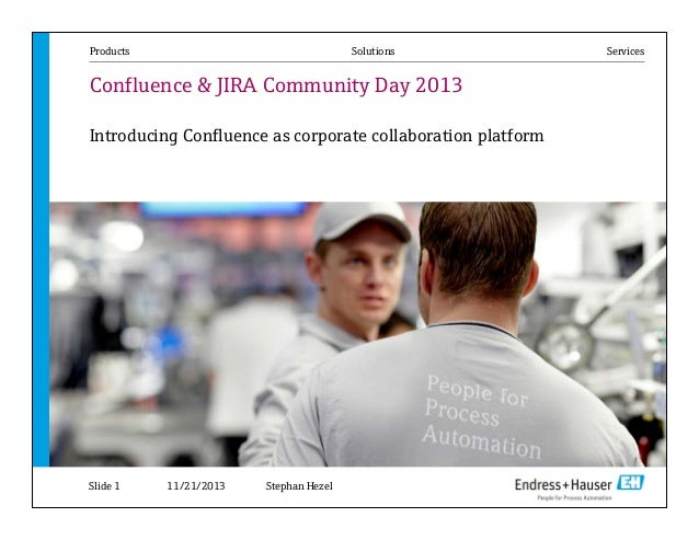 Products  Solutions  Confluence & JIRA Community Day 2013 Introducing Confluence as corporate collaboration platform  Slid...