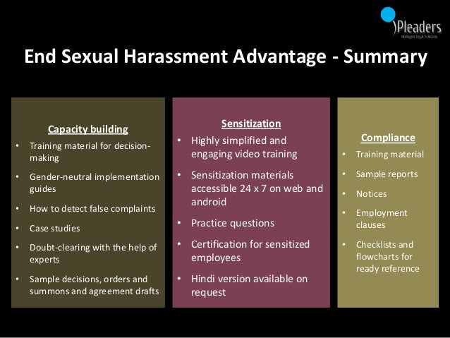 Sexual harassment employee training materials