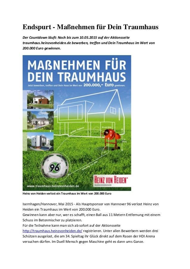 Endspurt - Maßnehmen für Dein Traumhaus Der Countdown läuft: Noch bis zum 10.05.2015 auf der Aktionsseite traumhaus.heinzv...
