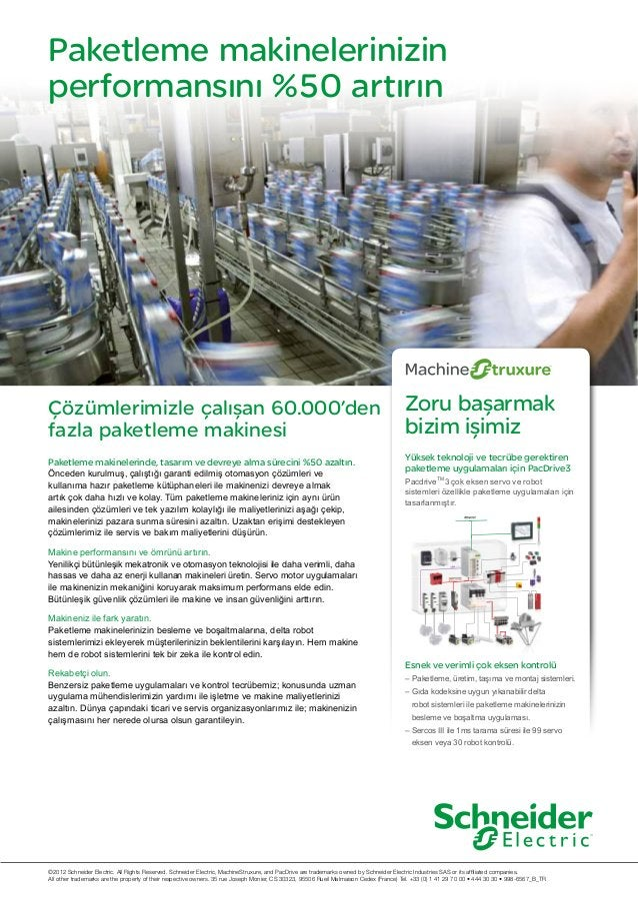 Paketleme makinelerinizin performansını %50 artırın Çözümlerimizle çalışan 60.000'den fazla paketleme makinesi ©2012 Schne...