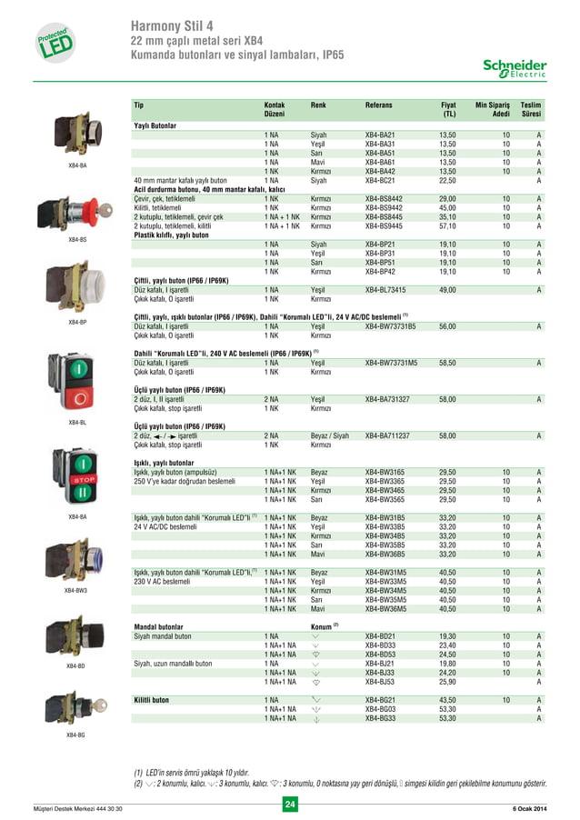 24 6 Ocak 2014Müflteri Destek Merkezi 444 30 30 Harmony Stil 4 22 mm çapl› metal seri XB4 Kumanda butonlar› ve sinyal lamba...