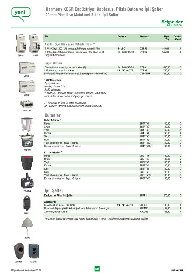 28 6 Ocak 2014Müflteri Destek Merkezi 444 30 30 Harmony XB5R Endüstriyel Kablosuz, Pilsiz Buton ve İpli Şalter 22 mm Plasti...