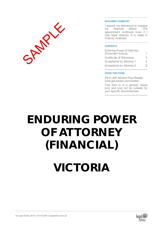 Enduring Power of Attorney (Financial) Victoria Template