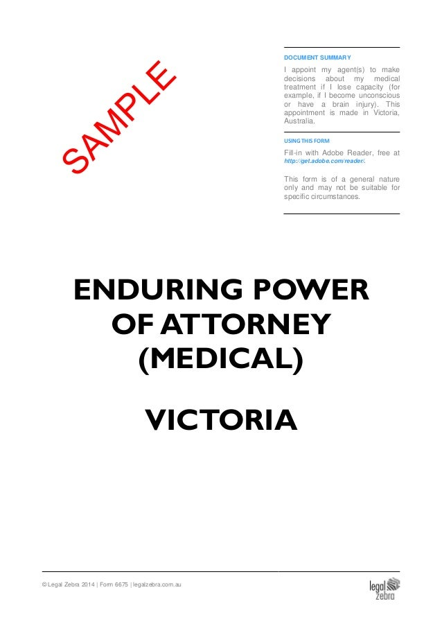 Enduring Power Of Attorney Medical Victoria Sample
