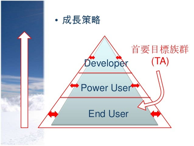 • 成長策略             首要目標族群   Developer   (TA)   Power User    End User