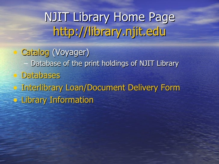 njit library thesis Why are student projects, theses and dissertations made freely available by njit what is the networked digital library of theses and dissertations (ndltd).
