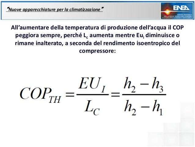 """""""Nuove apparecchiature per la climatizzazione""""  All'aumentare della temperatura di produzione dell'acqua il COP   peggiora..."""