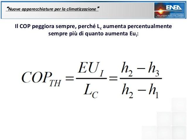 """""""Nuove apparecchiature per la climatizzazione""""    Il COP peggiora sempre, perché Lc aumenta percentualmente               ..."""