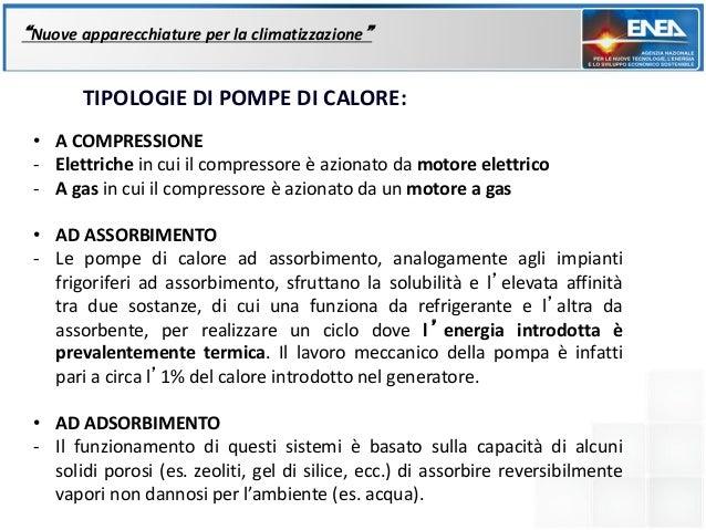 """""""Nuove apparecchiature per la climatizzazione""""       TIPOLOGIE DI POMPE DI CALORE: • A COMPRESSIONE - Elettriche in cui il..."""