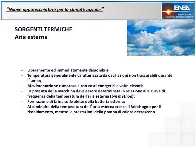 """""""Nuove apparecchiature per la climatizzazione""""    SORGENTI TERMICHE    Aria esterna       -   Liberamente ed immediatament..."""