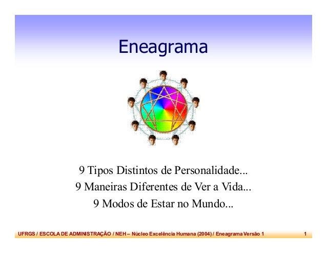 UFRGS / ESCOLA DE ADMINISTRAÇÃO / NEH – Núcleo Excelência Humana (2004) / Eneagrama Versão 1 1 Eneagrama 9 Tipos Distintos...