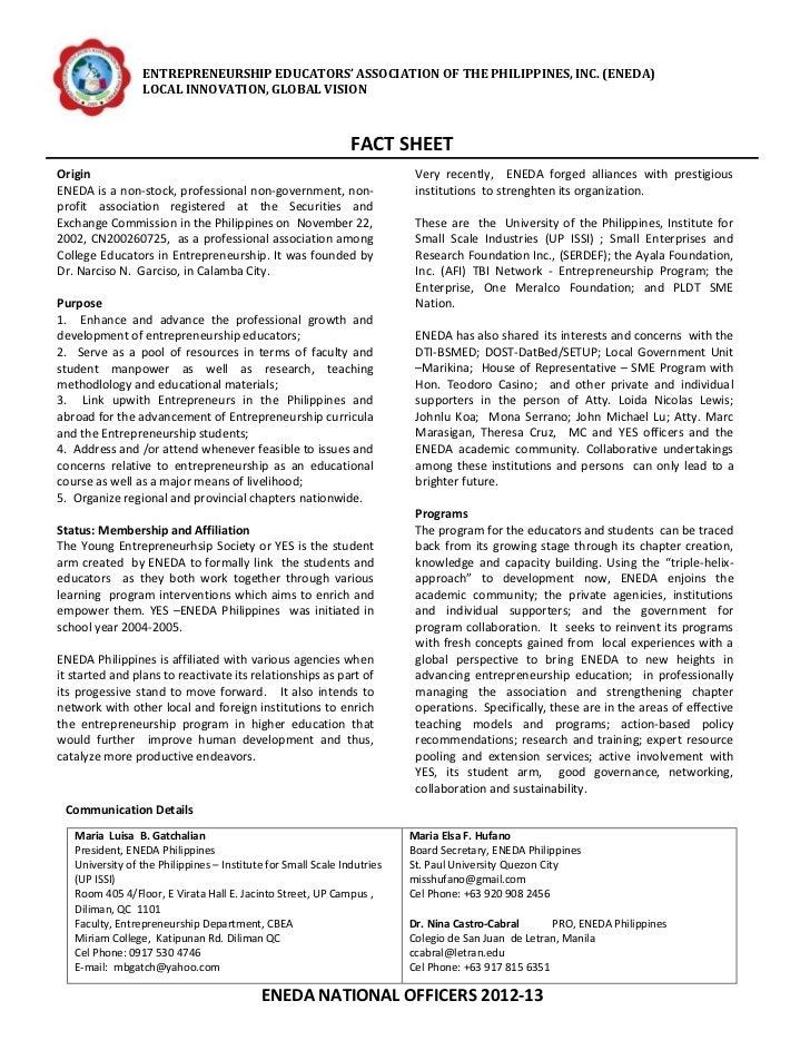 ENTREPRENEURSHIP EDUCATORS' ASSOCIATION OF THE PHILIPPINES, INC. (ENEDA)                 LOCAL INNOVATION, GLOBAL VISION  ...