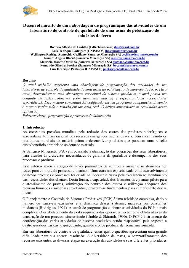 XXIV Encontro Nac. de Eng. de Produção - Florianópolis, SC, Brasil, 03 a 05 de nov de 2004 ENEGEP 2004 ABEPRO 179 Desenvol...
