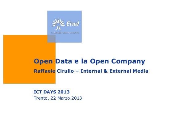 Open Data e la Open CompanyRaffaele Cirullo – Internal & External MediaICT DAYS 2013Trento, 22 Marzo 2013