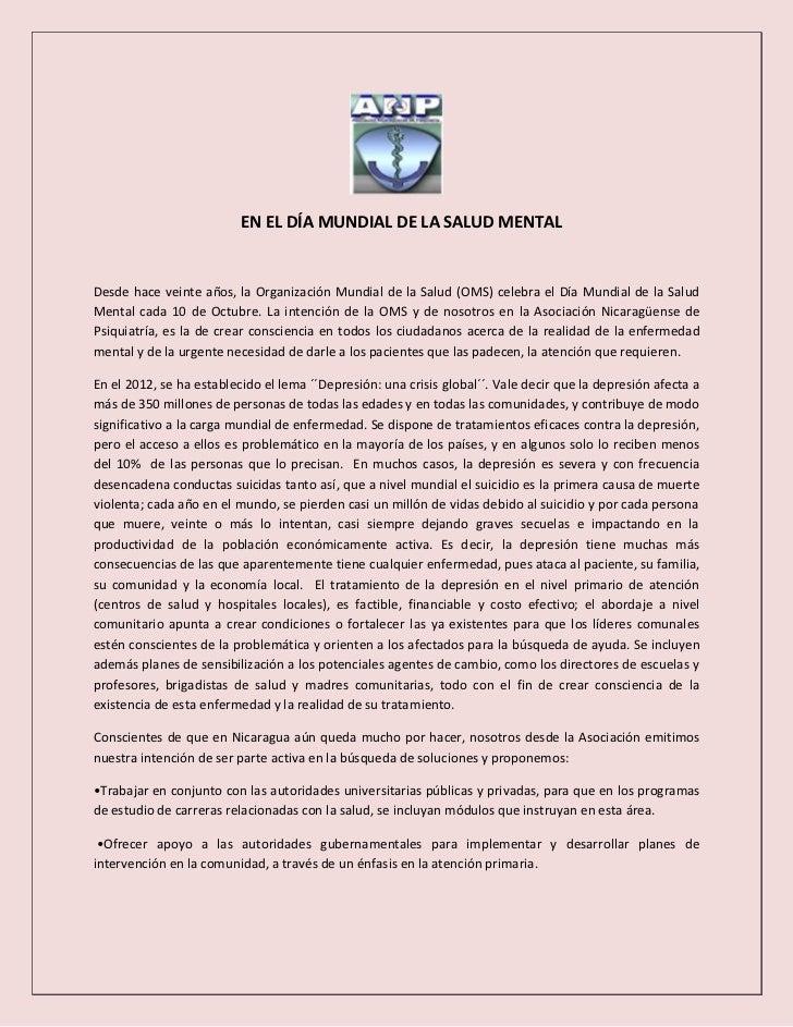 EN EL DÍA MUNDIAL DE LA SALUD MENTALDesde hace veinte años, la Organización Mundial de la Salud (OMS) celebra el Día Mundi...