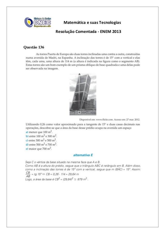 Matemática e suas Tecnologias Resolução Comentada - ENEM 2013 Questão 136