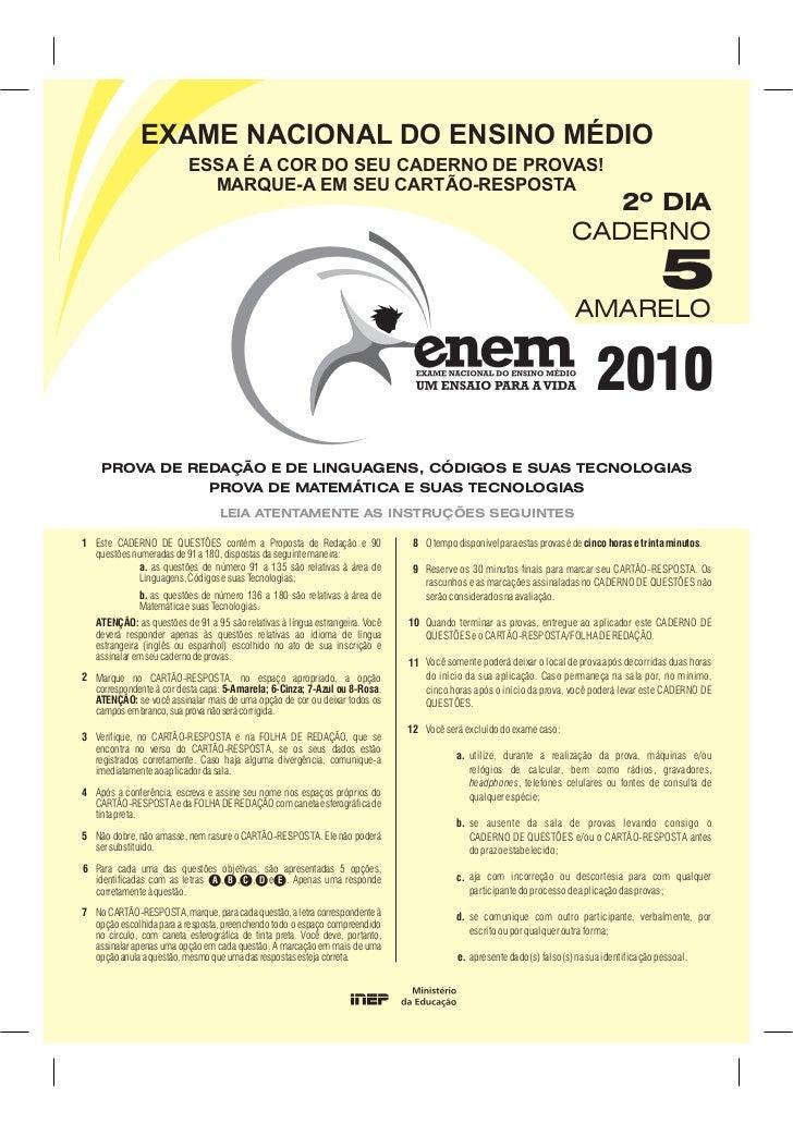 Enem 2010, Linguagens e Matemática - Conteúdo vinculado ao blog … e1d9db7fc8