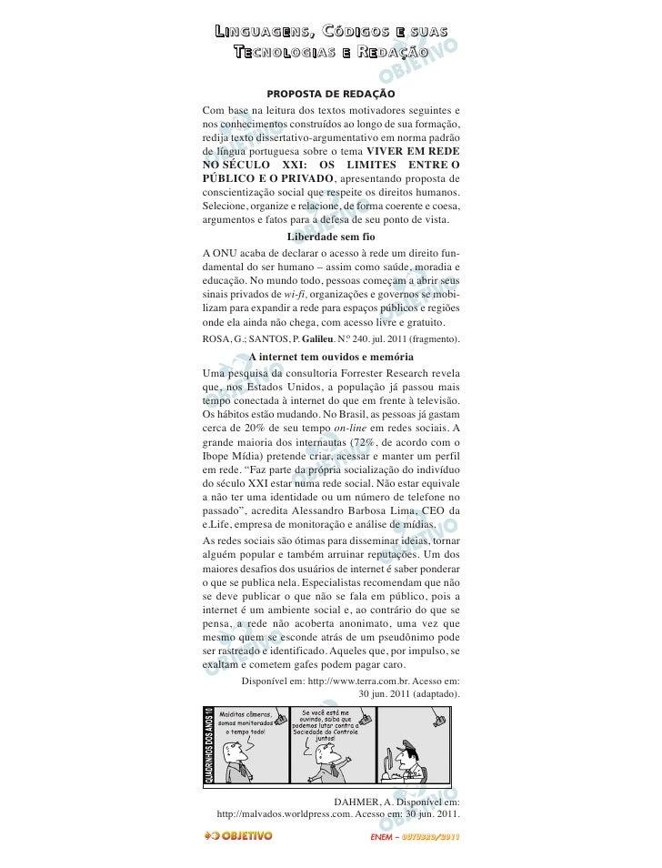 LINGUAGENS, CÓDIGOS E SUAS    TECNOLOGIAS E REDAÇÃO               PROPOSTA DE REDAÇÃOCom base na leitura dos textos motiva...
