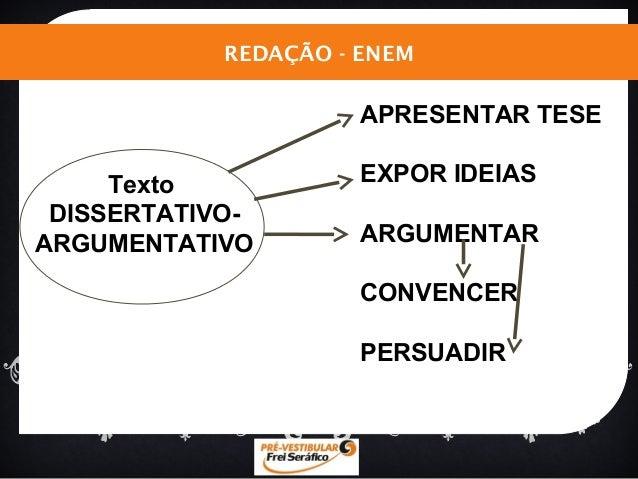 REDAÇÃO - ENEM  APRESENTAR TESE  EXPOR IDEIAS  ARGUMENTAR  CONVENCER  PERSUADIR  Texto  DISSERTATIVO-ARGUMENTATIVO