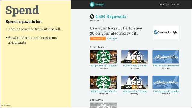 Spend Spend negawatts for: • Deduct amount from utility bill. • Rewards from eco-conscious merchants  @EneractApp  12