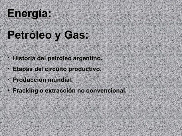 Energía: Petróleo y Gas: • Historia del petróleo argentino. • Etapas del circuito productivo. • Producción mundial. • Frac...