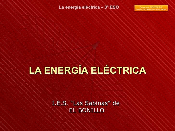 """LA ENERGÍA ELÉCTRICA I.E.S. """"Las Sabinas"""" de  EL BONILLO La energía eléctrica – 3º ESO Copyright FMM2005 © Todos los derec..."""