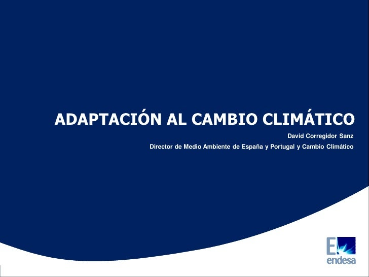 ADAPTACIÓN AL CAMBIO CLIMÁTICO                                                     David Corregidor Sanz         Director ...