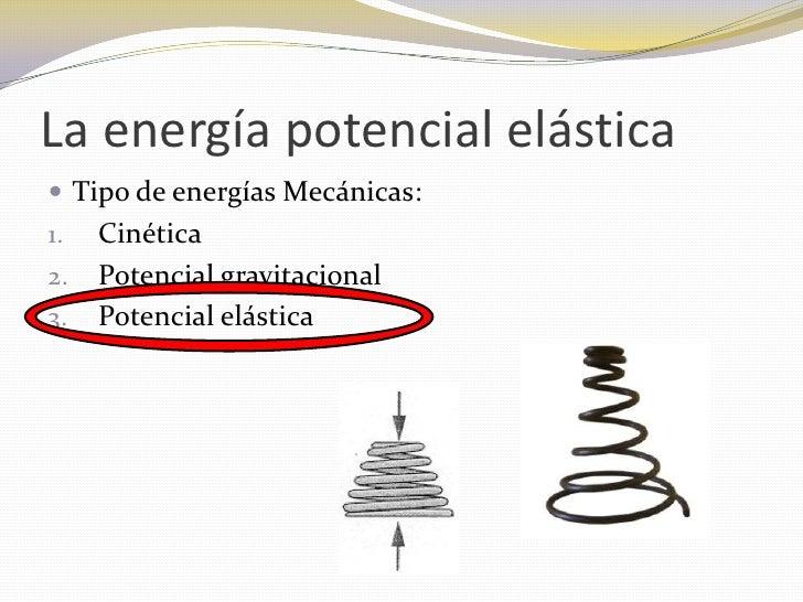 La energía potencial elástica Tipo de energías Mecánicas:1.   Cinética2.   Potencial gravitacional3.   Potencial elástica