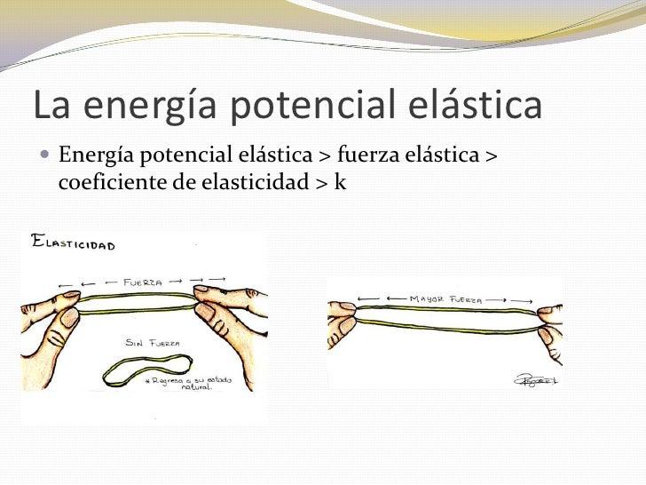 La energía potencial elástica Energía potencial elástica > fuerza elástica >  coeficiente de elasticidad > k