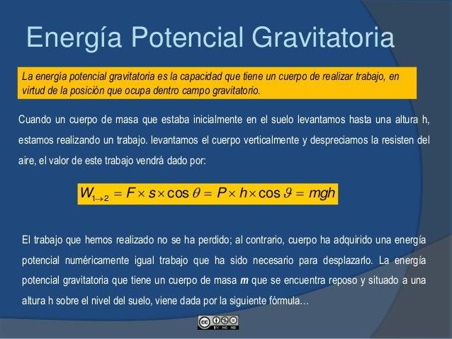 Cuando el cuerpo caiga del punto 2 al 1, perderá su energía potencial y realizará un trabajo. cumpliéndose que: mghEpotenc...